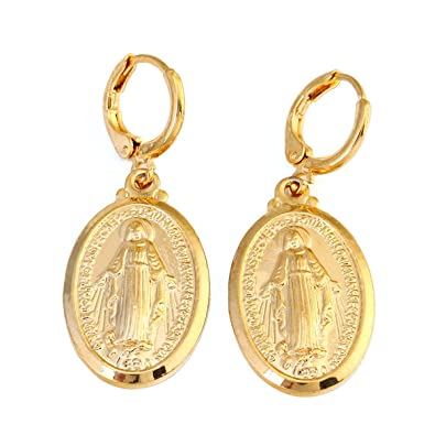 24k gold plated catholic christian jewelry mother cameo design 24k gold plated catholic christian jewelry mother cameo design virgin mary pendant necklace jewelry earring amazon jewellery aloadofball Choice Image