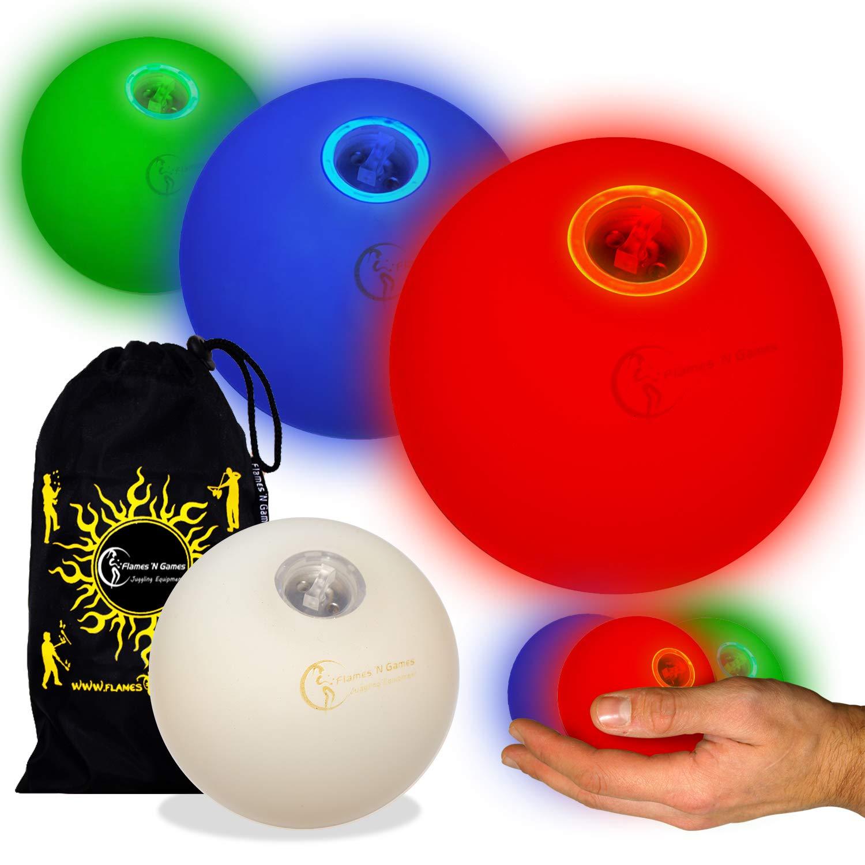 Flames N Games Pro LED Glow Juggling Balls Ultra Bright Battery Powered Glow LED Juggling Ball Sets with Travel Bag. by Flames N Games Juggling Ball Sets