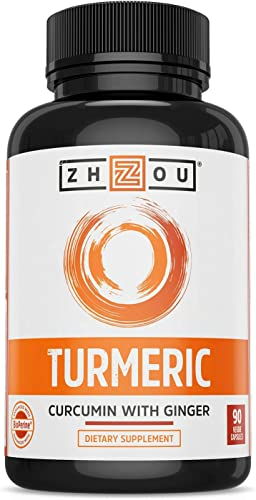 Turmeric Curcumin and Ginger with Bioperine 1800 mg Includes 95 Curcuminoids Extra Strength Antioxidant for Maximum Joint Comfort and Mobility – Non-GMO Gluten Free – 90 Veggie Capsules