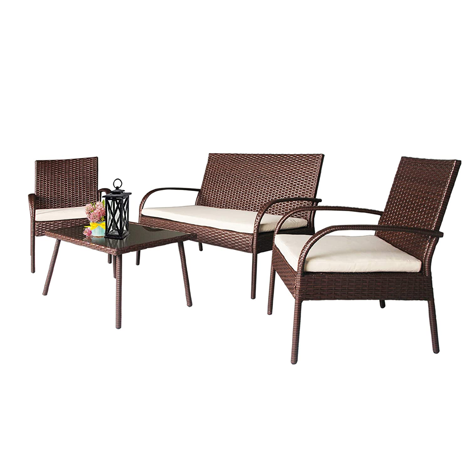Homevibes outdoor furniture 4 pieces wicker rattan conversation sets easy assembly with ergonomic comfortable thick cushions modern style non slip foot