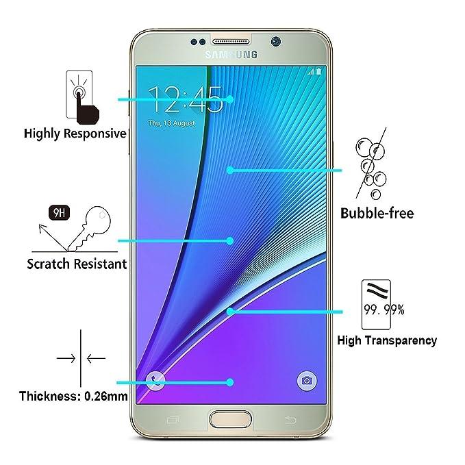 ACENIX® Samsung Galaxy Note 5 vidrio Protector de pantalla, Samsung Galaxy Note 5 Ultra Premium Protector de pantalla de cristal templado con 9H Dureza ...