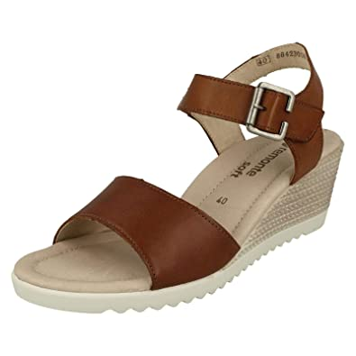 c8735a53f942 Women s Remonte Brown Leather Mid Heel Wedge Sandal UK 3 - EU 36 ...