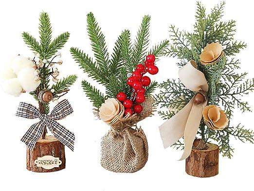 AOFOX Mini árbol de Navidad Artificial de 3 Piezas con Adornos, pequeño Pino de Navidad de 10 Pulgadas / 25 cm de Altura para decoración navideña, mesas y escritorios: Amazon.es: Hogar