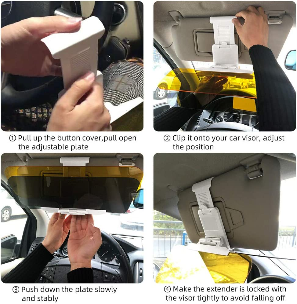 Universal Car Sun Visor Extender Car Anti-Glare Tinted Windshield Anti-Dazzle Day Night Visor Sunshade Driving Mirror HD Clear View