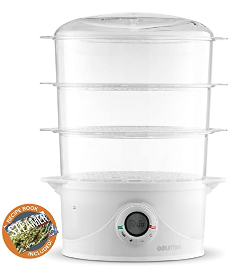 Amazon gourmia gfs300 steamtower300 electronic digital 3 tier gourmia gfs300 steamtower300 electronic digital 3 tier vegetable and food steamer 95 quart bpa forumfinder Gallery