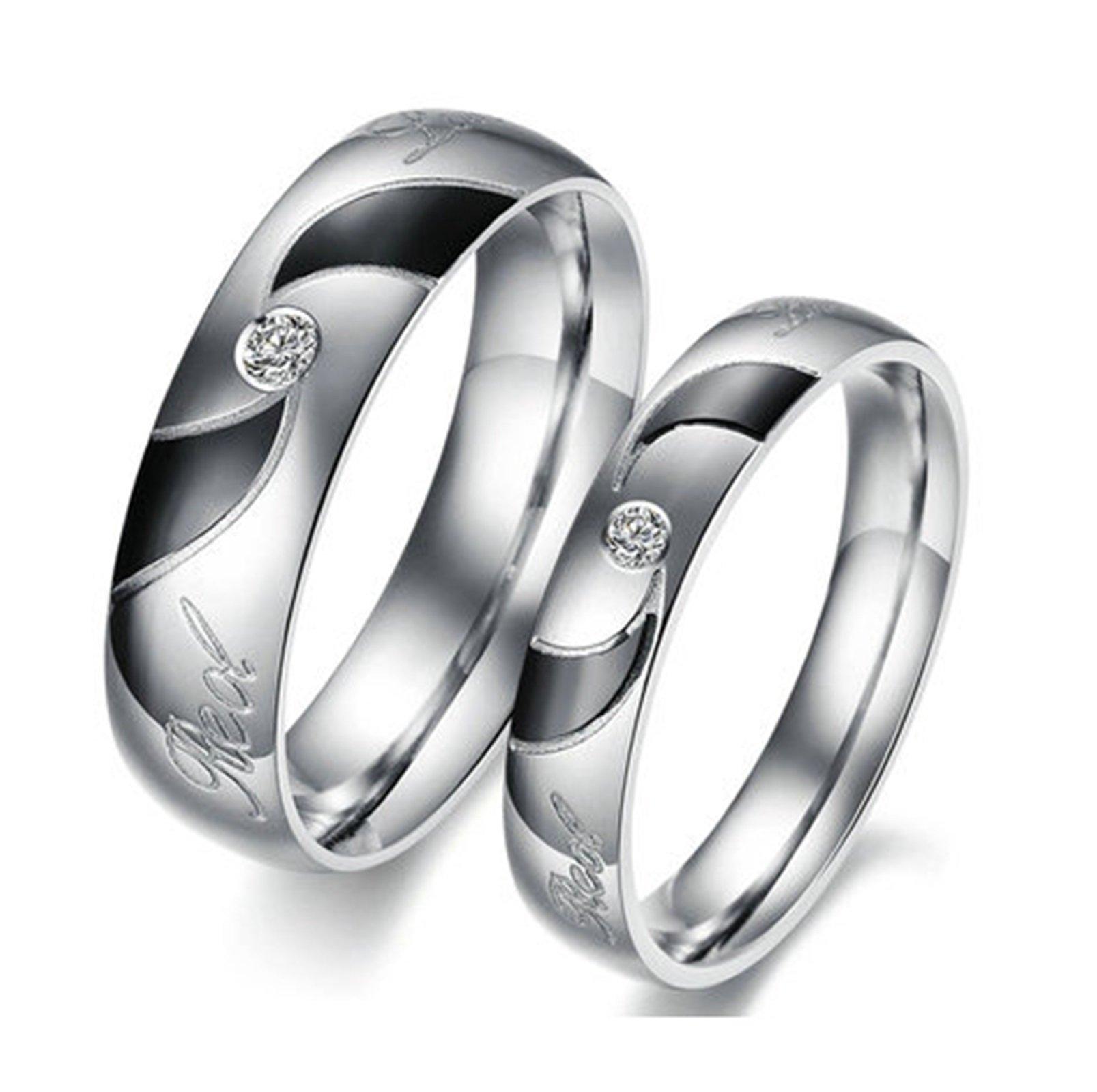 Beydodo 1PCS Stainless Steel Ring 10 Cubic Zirconia Engraving Real Love Width Wedding Rings Mens by Beydodo