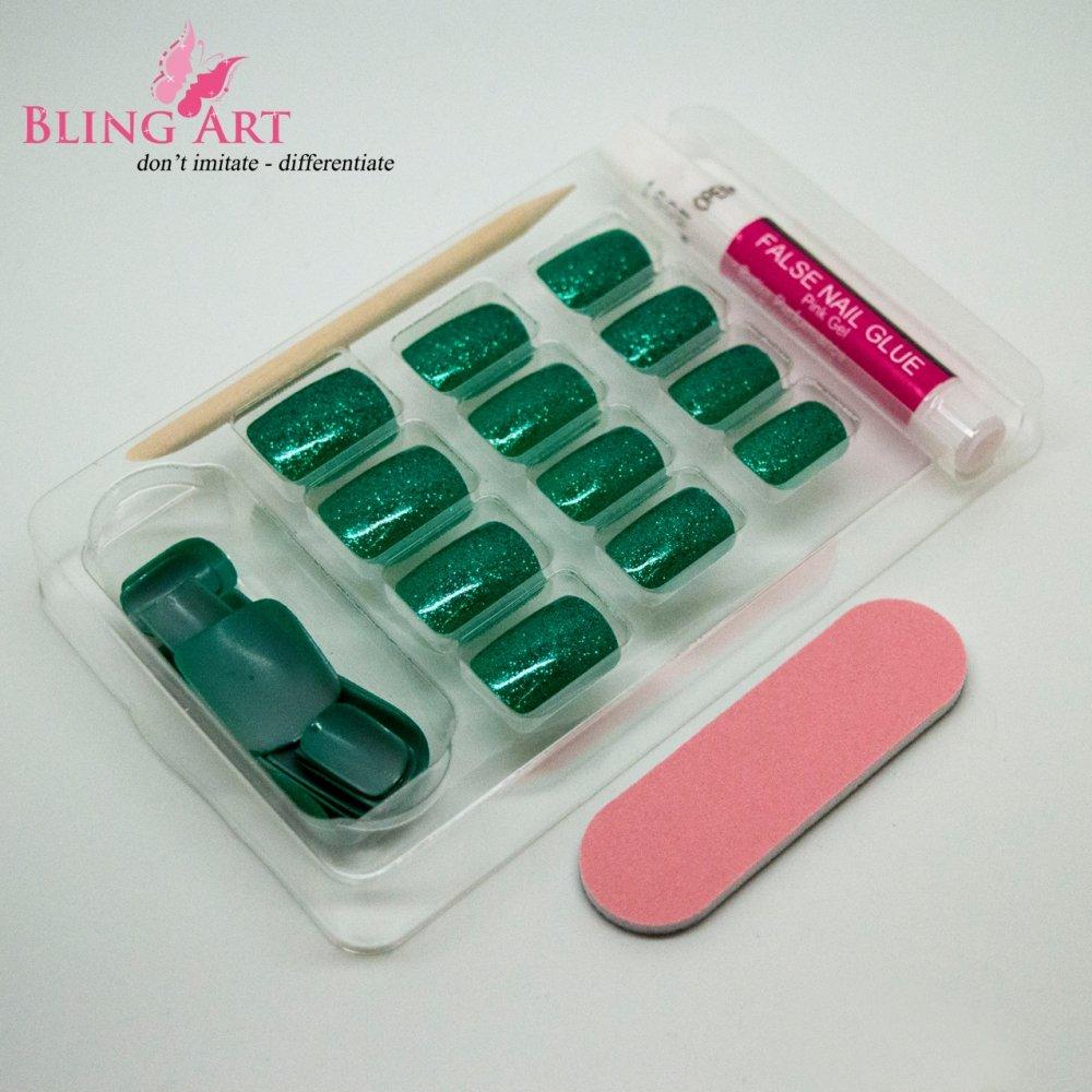 Bling Art Gel False Nails French Manicure 24 Green Aqua Glitter ...