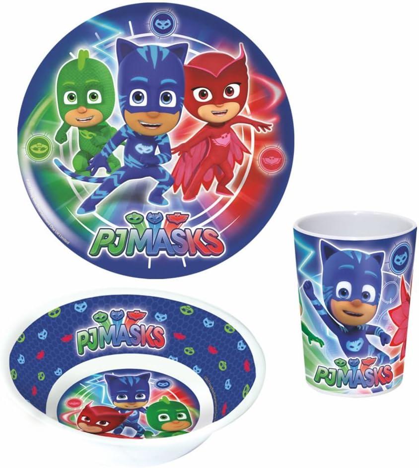 KIDS CHILDRENS BOYS PJ MASKS  3 PC DINNER DINING BREAKFAST SET PLATE BOWL CUP