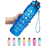 Venture Pal 32oz Motivational Fitness Sports Water Bottle with Time Marker & Straw, Large Wide Mouth Leakproof Durable BPA Fr