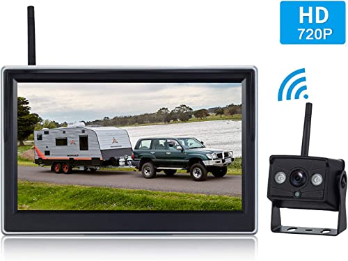 HD 720P Digital Wireless Backup Camera System with 5 LCD Monitor for Trucks,Cars,Vans,Campers,Trailers Rear Front View Camera with Super Night Vision IP69K Waterproof Guide Lines On Off