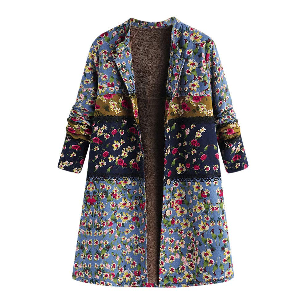 f15c31107bf64 Amazon.com  Womens Coats Winter Plus Size Long Hooded Coat Vintage Warm  Print Duffle Outwear Parka Jacket Sunmoot  Clothing