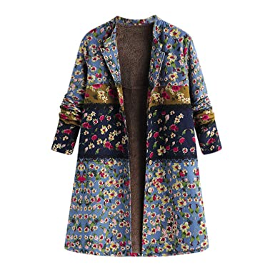 708b088d30db5 Image Unavailable. Image not available for. Color  Womens Coats Winter Plus  Size Long Hooded Coat Vintage Warm Print Duffle Outwear ...