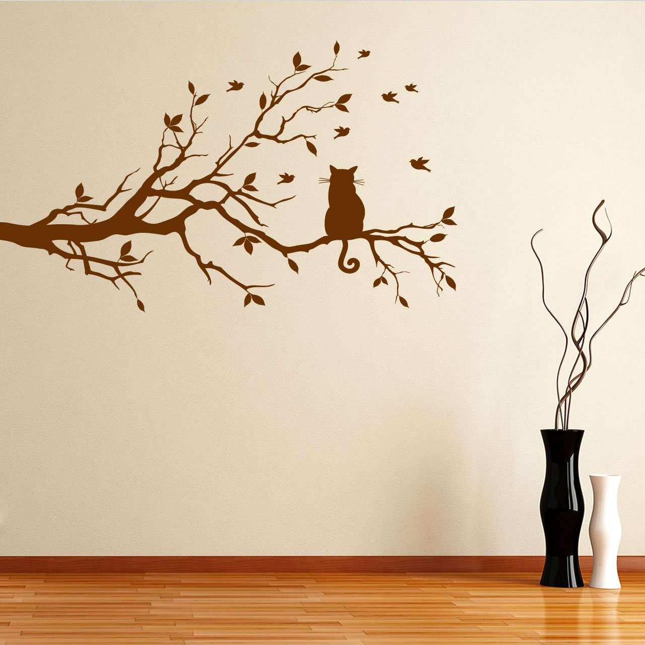 Delightful Cat On A Branch Wall Sticker / Decal   Black   W96 X H57: Amazon.co.uk:  Kitchen U0026 Home Part 11