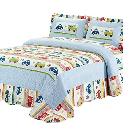 Abreeze Coverlet Quilt Bedspread Throw Blanket for Kid's Girl & Boys Bed  Gift 100% Natural Cotton Twin (2pc), Mini-car