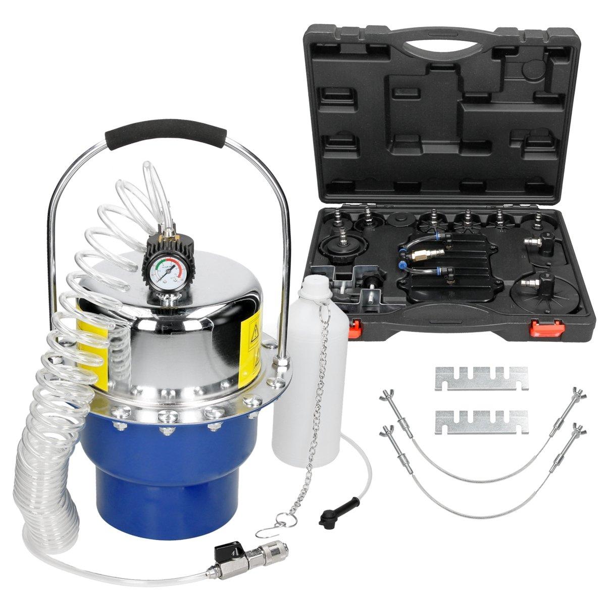 ECD Germany Purgador de Freno de Aire comprimido Sangrador de Freno neumático con Manómetro de Presión y Válvulas: Amazon.es: Coche y moto