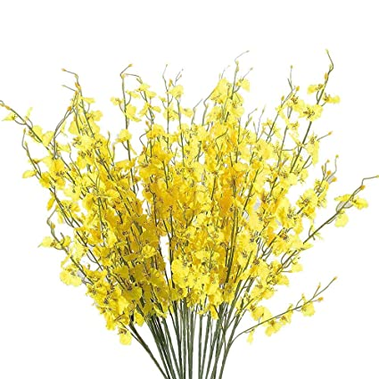 b8e50b47fa4 pengchengxinmiao Simulation Artificial Flowers Oncidium Orchid Phalaenopsis  Flowers Artificial Anniversary Birthday Valentines Girlfriend Gift Vase (