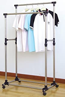 prosource premium heavy duty double rail adjustable telescopic rolling clothing and garment rack - Metal Clothes Rack