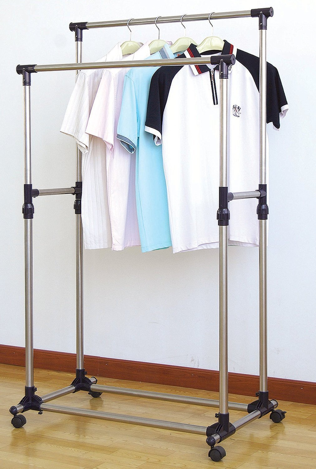 Amazon.com: ProSource Premium Heavy Duty Double Rail Adjustable Telescopic  Rolling Clothing And Garment Rack: Home U0026 Kitchen