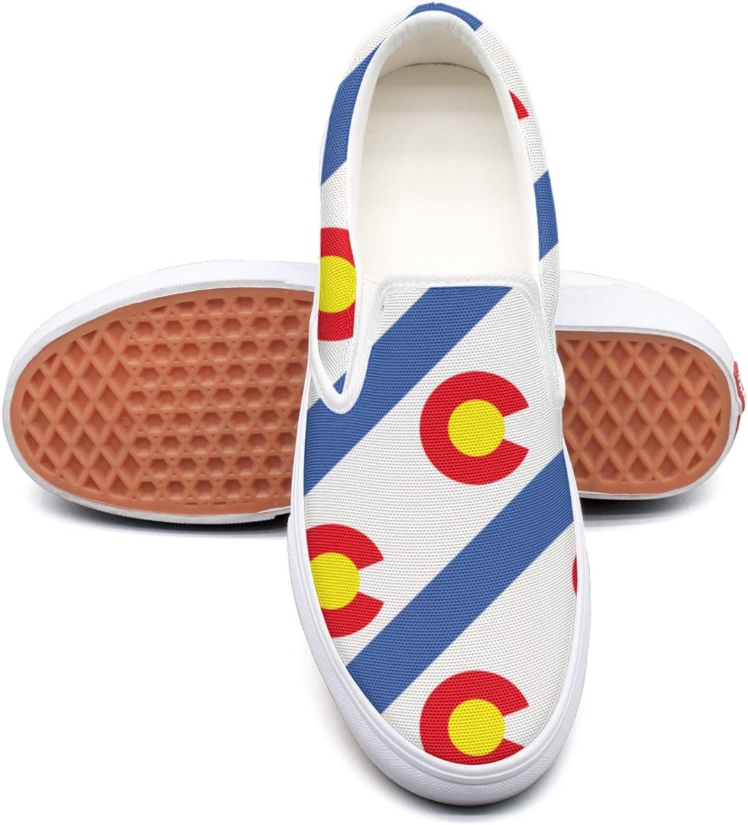 VCERTHDF Colorado Flag Repeat Fashion Canvas Shoes Man White