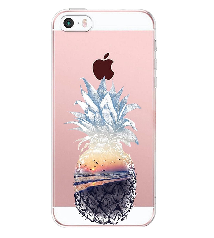 0cb54b882bf JEPER Funda iPhone SE Carcasa iPhone 5S Silicona Transparente Protector TPU  Ultra-delgado Anti-Arañazos Piña Case para Teléfono Apple iPhone 5 Caso Caja