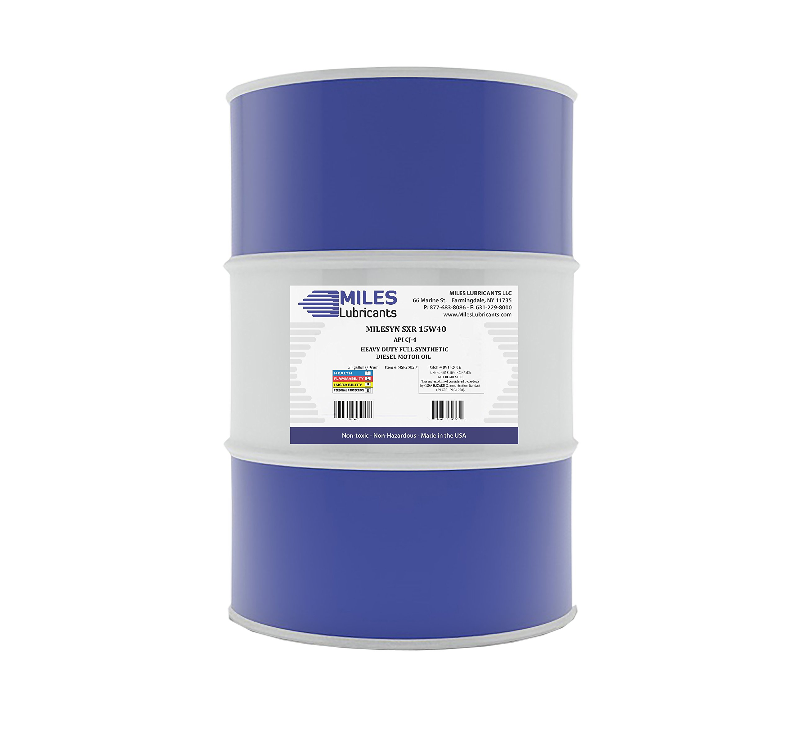 Milesyn SXR 15w40 API CJ-4 Full Synthetic Diesel Motor Oil 55 Gallon Drum