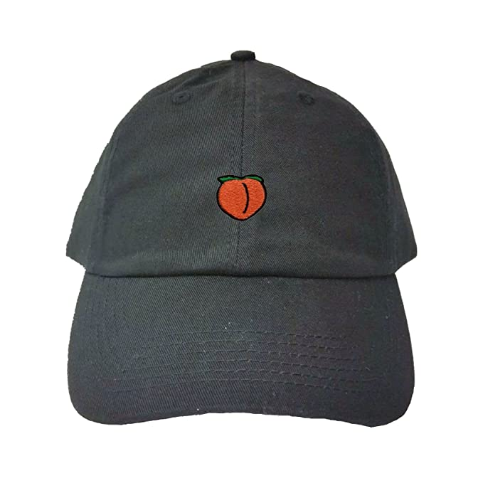 d731788c Amazon.com: Adjustable Black Adult Peach Emoji Embroidered Dad Hat ...