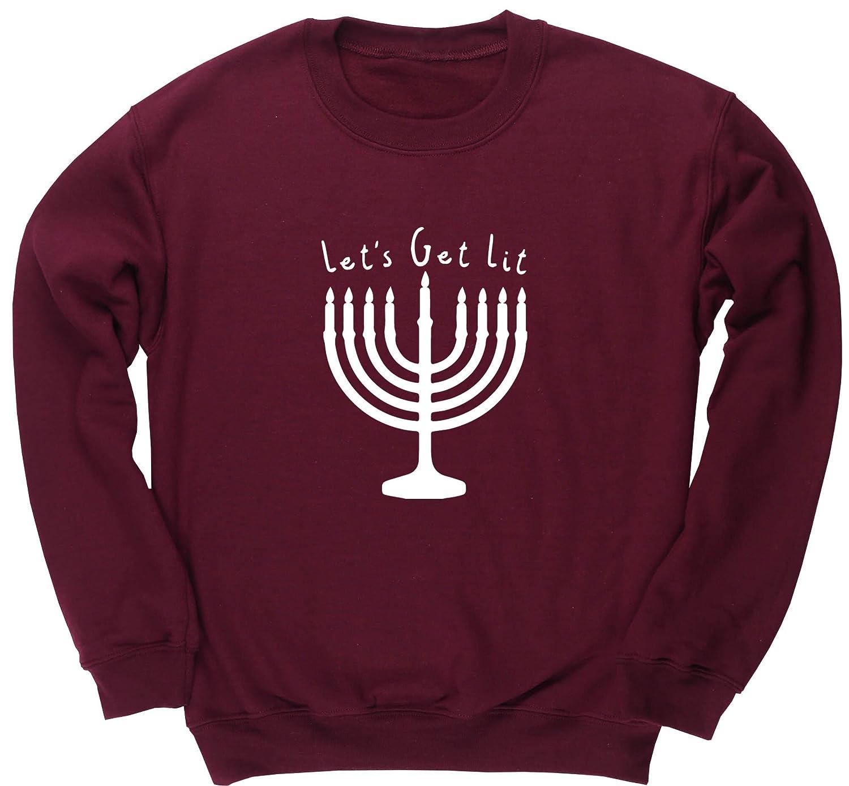 97e3b5702 Hippowarehouse Let's Get Lit - Hanukkah Unisex Jumper Sweatshirt Pullover  (Specific Size Guide in Description): Amazon.co.uk: Clothing