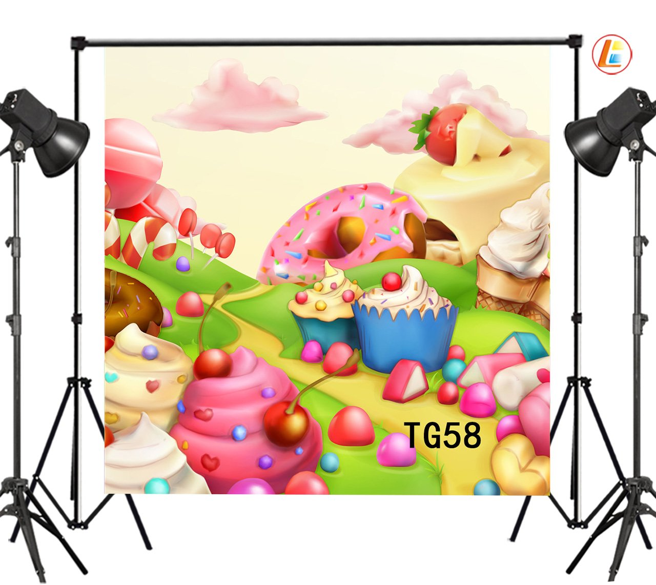 LB 8X8ft Doughnut Strawberry Cake Candy Vinyl Photography Backdrop Customized Newborn Baby Kids Photo Background Studio Prop TG58