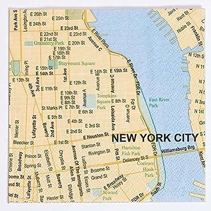 Show Me The Map Of New York.Amazon Com Design Ideas New York City Mapkins City Map Beverage