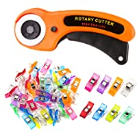 Deals on Zmaagg 45mm Fabric Rotary Cutter with 50 Pcs Sewing Clips