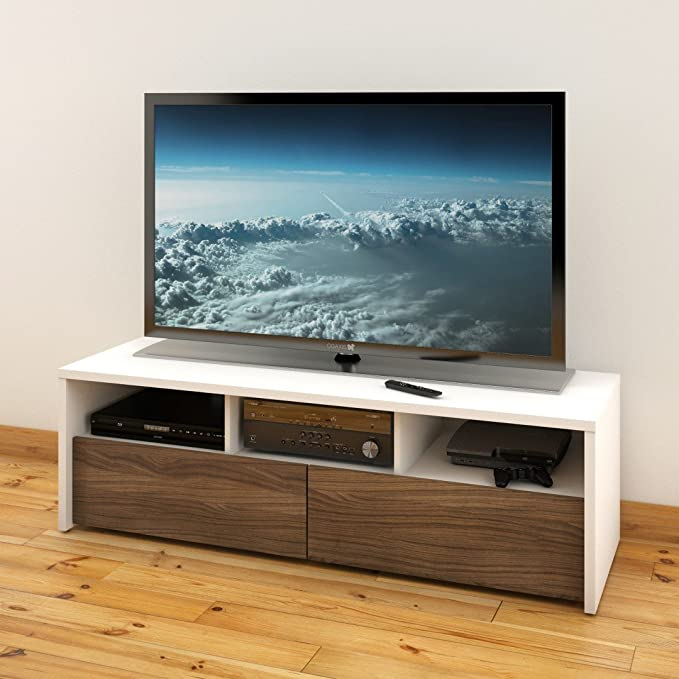 Nexera Liber-T - Sistema de Almacenamiento y Entretenimiento de diseño Modular de 60 Pulgadas Mueble TV Blanco y Espresso: Amazon.es: Juguetes y juegos
