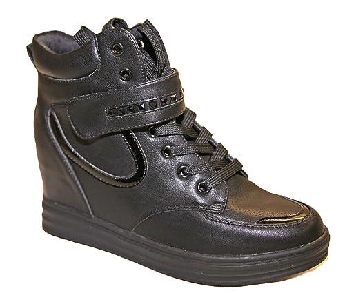Basket Montante Femme Talon Compense Sneakers Simili Cuir