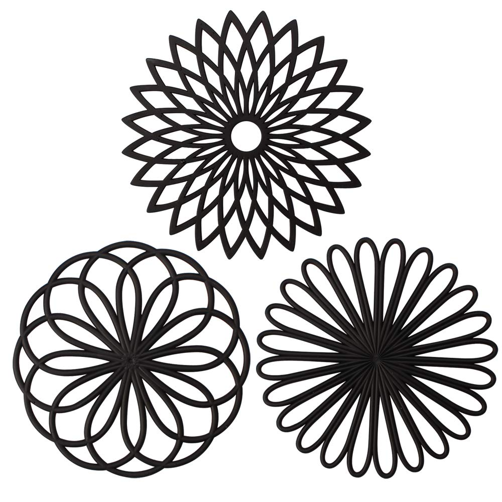 ME.FAN 3 Set Silicone Multi-Use Flower Trivet Mat - Premium Quality Insulated Flexible Durable Non Slip Coasters Hot Pads Black by ME.FAN (Image #1)