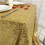 "TRLYC Mantel de lentejuelas de color sólido, mantel de lentejuelas, cuadrado, Gold Sequin Tablecloth, 55""x55"", 1"