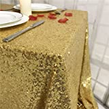 """TRLYC Pack of One Sparkly Drape tablecloth Gold tablecloth Sequin Fabric tablecloth for Ceremony/Party/Halloween 54x54"""""""