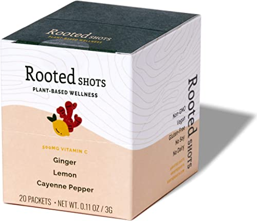 Rooted Shots – Ginger Lemon Cayenne Pepper Shot 500mg Vitamin C Immune Support and Wellness Dried Juice Shot Non-GMO and Vegan Dried Plant Based Powder Inflammation Support 20 Pack