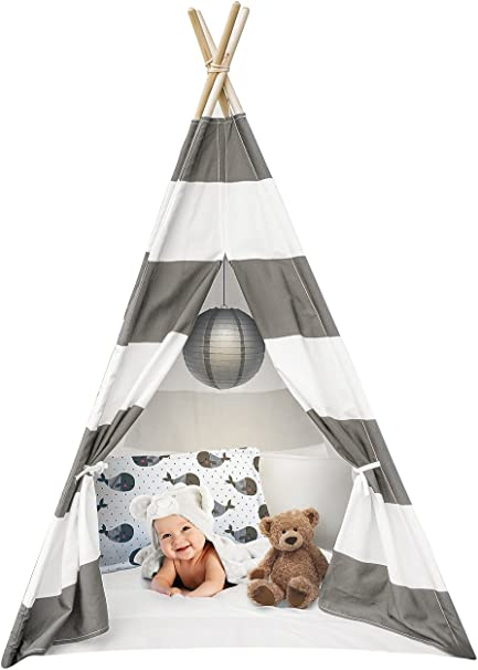 Amazon Com Sorbus Kids Foldable Teepee Play Tent Playhouse Classic Indian Style Play Tent And Carry Bag Walls With Door Window And Floor White And Gray Toys Games