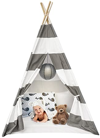 quality design 4bc03 1483f Sorbus Kids Foldable Teepee Play Tent Playhouse Classic Indian Style Play  Tent and Carry Bag, Walls with Door, Window and Floor (White and Gray)