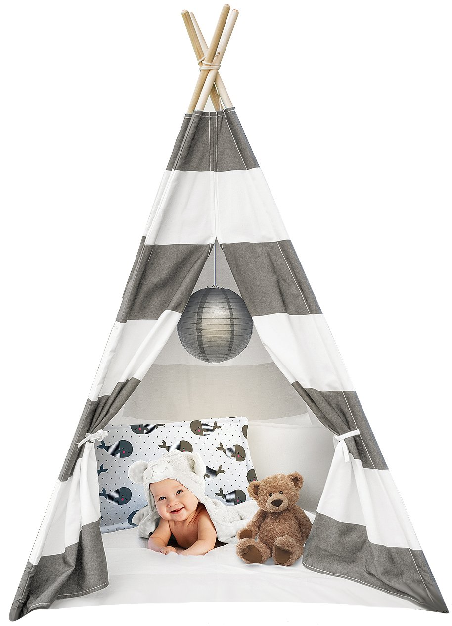 Sorbus Kids Foldable Teepee Play Tent Playhouse Classic Indian Style Play Tent and Carry Bag, Walls with Door, Window and Floor (White and Gray)
