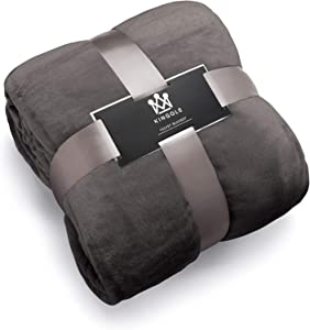 Kingole Flannel Fleece Microfiber Throw Blanket, Luxury Charcoal Grey Twin Size Lightweight Cozy Couch Bed Super Soft and Warm Plush Solid Color 350GSM (66 x 90 inches)