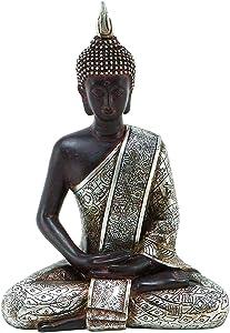 Bellaa 23293 Buddha Dhyana Mudra Meditating Sitting Blessing Statue Indoor Outdoor Garden Patio 8 inch (Silver)