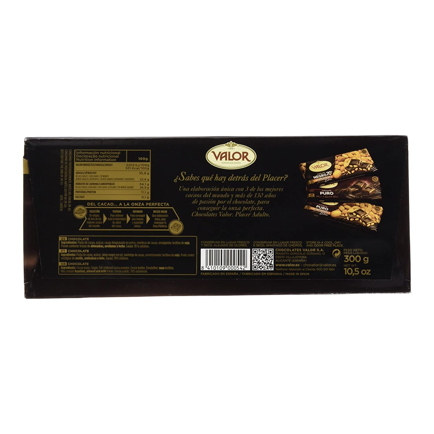 Chocolates Valor - Chocolate negro de 70% cacao - 300 g - [pack de 2]: Amazon.es: Alimentación y bebidas