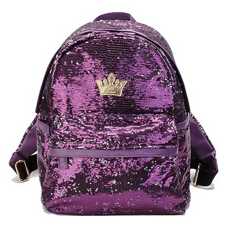 Artone Casual Sirena Lentejuela Mochila Brillante Al Aire Libre Deportes Daypack Bling Bolso Púrpura