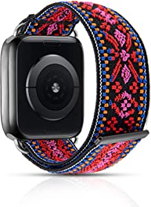 Compatible with Braided Solo Loop Apple Watch Band 38mm 40mm 42mm 44mm, Adjustable Elastic iWatch Bands Stretchy Soft Wristband for Apple Watch Series SE 6 5 4 3 2 1 (Boho Pink 38/40mm S)