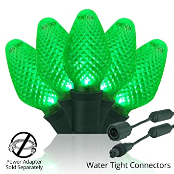 LED Commercial Exterior Christmas Lights, 25 Weatherproof Outdoor Christmas  Lights on Green Wire, Waterproof - LED Commercial Exterior Christmas Lights, 25 Weatherproof Outdoor Christmas  Lights On Green Wire, Waterproof Coaxial Connectors (6