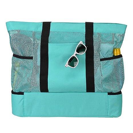 Malla de playa bolsa de asas multifuncional con cremallera Picnic bolsa de aislamiento