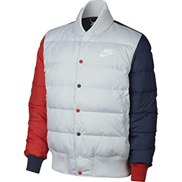 c4c8acee1e37 Nike Men Down Fill Bomber Jacket - Pure Platinum Habanero Red Midnight Navy