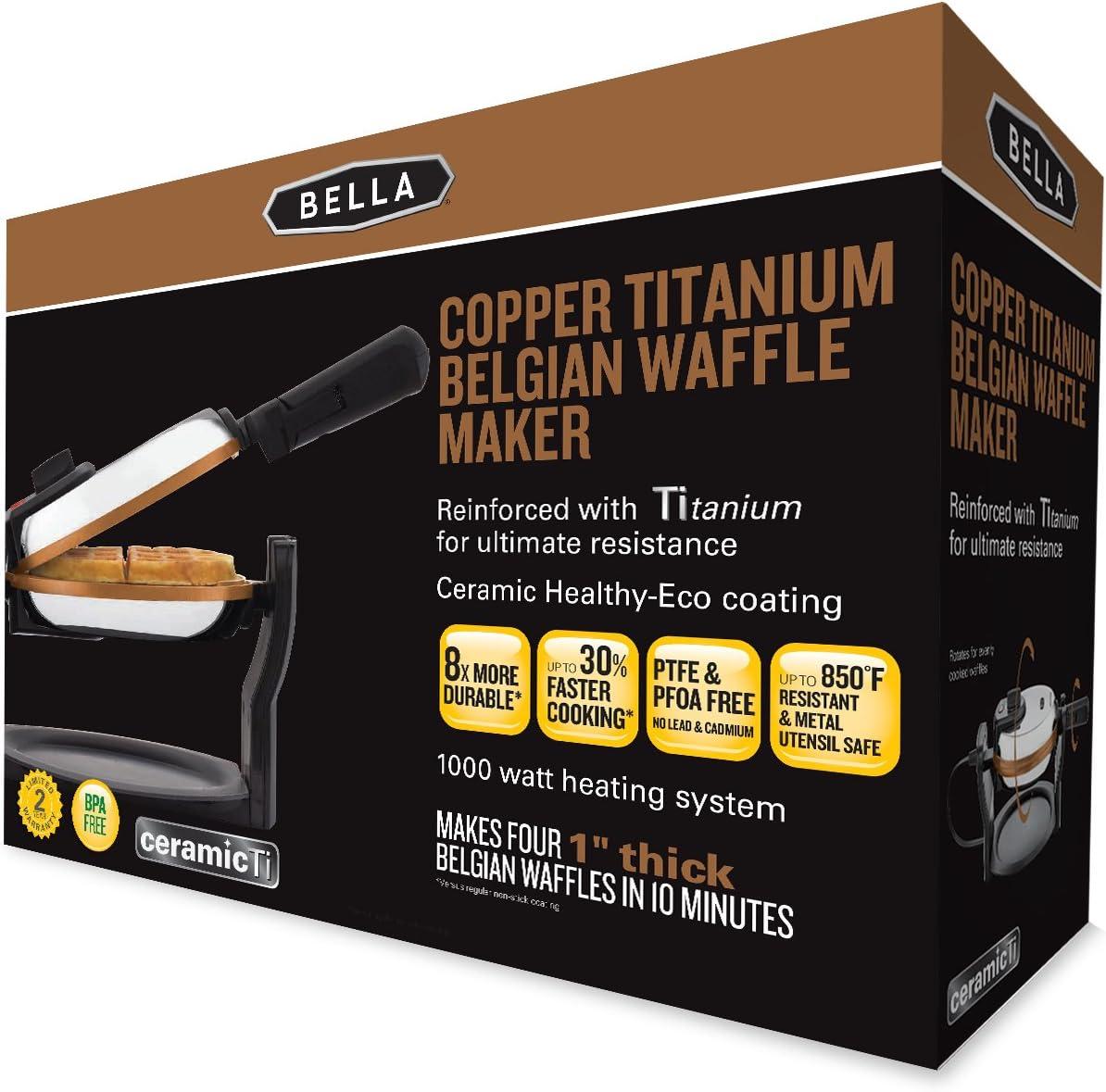 Stainless 1000 Watt 14608 BELLA Copper Titanium Coated Rotating Belgian Waffle Maker