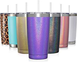 Civago 20oz Insulated Stainless Steel Tumbler, Coffee Tumbler with Lid and Straw, Double Wall Vacuum Travel Coffee Mug, Powder Coated Tumbler Cup (Violet Shimmer,1)