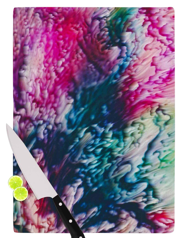 KESS InHouse Malia Shields'Splash Abstract Ink' Magenta Green Cutting Board, 11.5' x 15.75', Multicolor
